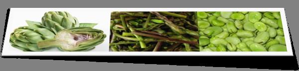 Tre verdure carciofi, asparagi, fave